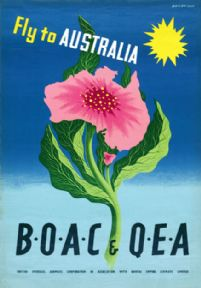 Fly to Australia: B.O.A.C. and Q.E.A. Vintage Travel Poster by John Bainbridge